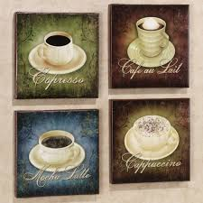 Cafe Latte Kitchen Decor Accent Your Coffee Themed Kitchen Decor With This Set Of 2 Coffee