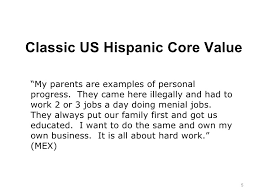 core values and general cultural insights of us hispanics  5 classic us hispanic core value ""