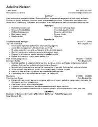 Assistant Manager Job Duties For Resume General Enterprise