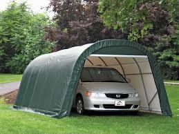 shelterlogic 12 x 20 x 8 round portable garage canopy green 28