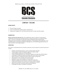 Resume Company construction company resume sample Enderrealtyparkco 1