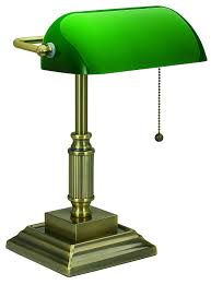 V Light Traditional Style Cfl Bankers Desk Lamp With Green Glass Shade Vs688029ab
