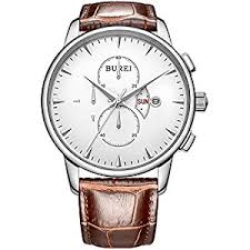 amazon com burei business casual men s wrist watches date burei business casual men s wrist watches date day chronograph stopwatch brown leather strap