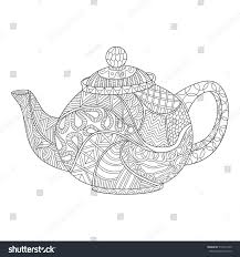 Small Picture Teapot Coloring Page Adults Zentangle Style Stock Vector 510314755