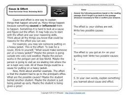 cause effect nd grade reading comprehension worksheets cause effect