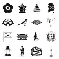 韓国のアイコンをシンプルなスタイルを設定します韓国のシンボル設定コレクションのベクトル図