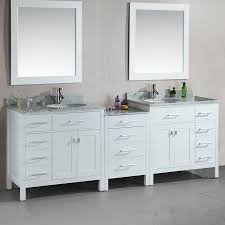 design element london white undermount double sink bathroom vanity with natural marble top common