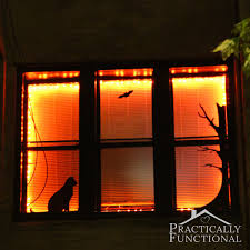 diy halloween lighting. Halloween Window Decor: Decorate A With Black Vinyl And Orange String Lights! Diy Lighting F