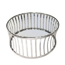 capri round stainless steel cocktail table w clear tempered glass top by diamond sofa