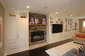 Railroad Tie Mantle custom builtin entertainment fireplace and wall cabinetry 5891 by xevi.us