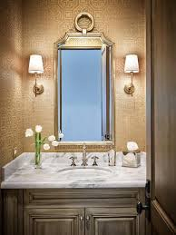powder room lighting. Gold Powder Room Wallpaper With Light Brown Washstand Lighting W