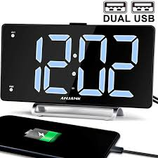 9 digital alarm clock large led display dual alarm with usb charger port