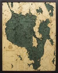 Sebago Lake Wood Carved Topographic Depth Chart Map