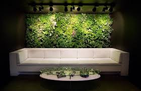 fancy interior wall garden design with green plants with spot lighting plus white colored