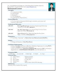 Latest Resume Format For Experienced Mechanical Engineer It