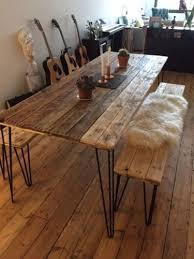 reclaimed wood dining table and x2 benches with by palletmonkey