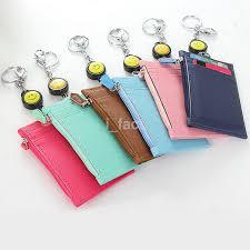 details about practical id badge card holder retractable reel lanyard purse key holder uk