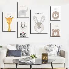 Cute <b>Animal Cartoon Canvas</b> Painting Art Print Poster <b>Picture</b> Wall ...