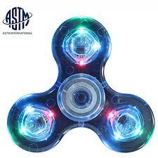 Fidget Spinner Light Blue Led Hantop Tri Spinner 4 Modes Led Crystal Fidget Spinner Glow