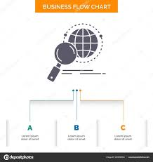 Global Globe Magnifier Research World Business Flow Chart