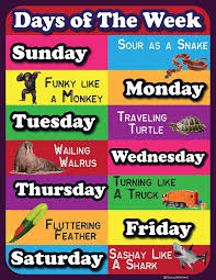Week Chart Days Of The Week Lamintated Educational Chart Fun Poster For Kids And Teachers With Funny Lines And Animals