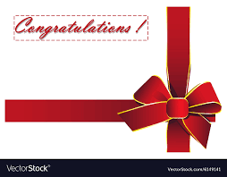 Words For Congratulations Red Ribbon With The Words Congratulations