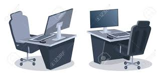 comfortable office furniture. Two Desks With Computers And Comfortable Office Chairs Isolated On White Background. Vector Illustration Furniture H
