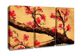 flowers 3 panel cherry blossom painting 1 canvas art on 3 panel wall art flowers with cherry blossom painting 1 flowers 3 panel canvas 3 panel set canvas