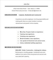 Create a perfect self employed resume and personal website for your job search. Carpenter Resume Templates 11 Free Printable Word Pdf Samples