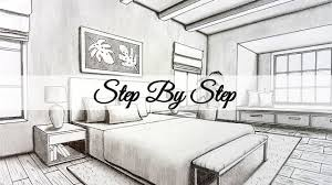 Bedroom Interior Design Sketches How To Draw A Bedroom In Two Point Perspective Step By
