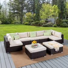 nolan multibrown 9 piece wicker outdoor sectional set with beige cushions