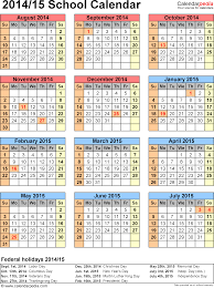 School Calendar Templates School Calendars 2014 2015 Free Printable Excel Templates