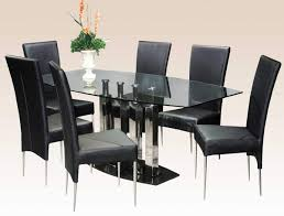 rectangle glass dining room table. Dining Room:Orange Flower On The Rectangular Glass Table With Black Chairs And Stainless Furniture Rectangle Room