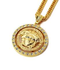 generic turn the tide brand medusa pendant 18k gold plated necklace quality hip hop fashion style necklace nice