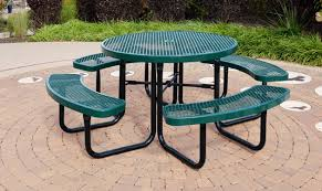 city series round picnic table green