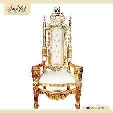 whole solid wood wedding white and gold throne chairs