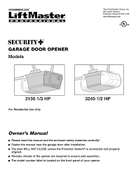 hp garage door opener user manual