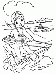 Small Picture Little Girl Rides on a Water Board coloring page for kids seasons