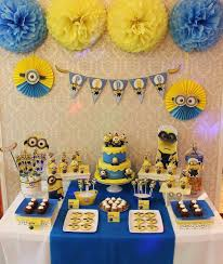 Despicable Me dessert table with cool stylized decor