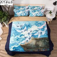xyzls japan style us au uk queen bedding set crane bedclothes birds retro bed linings twin full king double s bedding kit grey twin comforter blanket