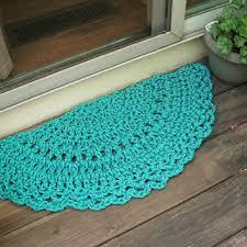 doormat turquoise crochet half circle 15