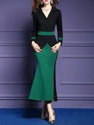 Unique Designer Dresses Online Shop Maxi Dresses Ol Elegant Paneled Color Block Zipper
