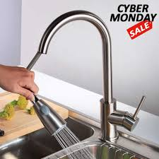 Stainless Steel Sink Handle Brushed Nickel Pull Out Kitchen Faucet Single Hole Durable Home Swivel Sprayer Stream Mixer Tap