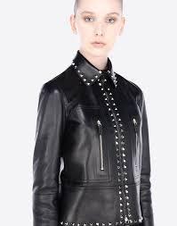 valentino leather jacket with gold studs black rk197pi valentino women