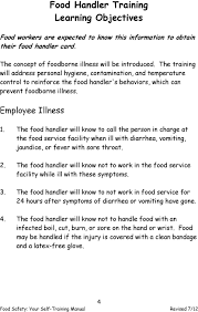 the food handler will know to call the person in charge at the food service facility