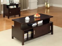 dark wood coffee table sets drawers