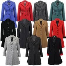 las coat womens jacket wool look military long