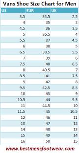 Vans Shoe Size Chart Best Mens Footwear