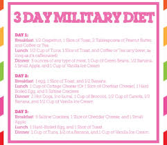 Military Diet Chart India 3 Day Military Diet Kelleys Blog