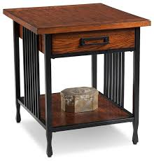 leick furniture ironcraft mission oak drawer end table